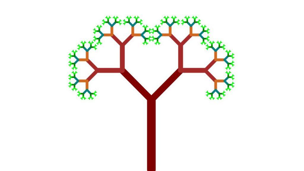 Un albero creato disegnato in digitale utilizzando l'applicazone LibreLogo